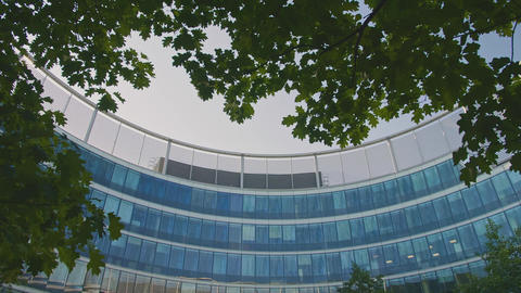 Panorama in a Modern Glass Business Office Round Building. Modern Architecture Live Action