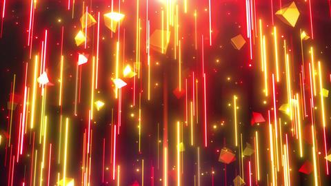上から下 光のライン キューブ 赤ゴールド ループ CG動画