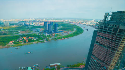 A timelapse of panoramic cityscape at Saigon river in Ho Chi Minh high angle Live Action