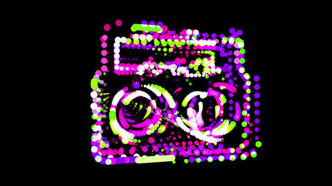 Circles gather in symbol boombox. After it crumbles in a line and moves to the camera. Alpha channel CG動画
