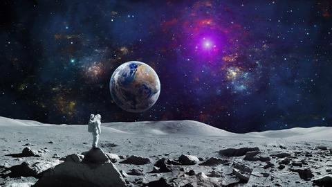 Space background. Astronaut standing on moon surface with orbiting earth planet and colorful nebula. Animation