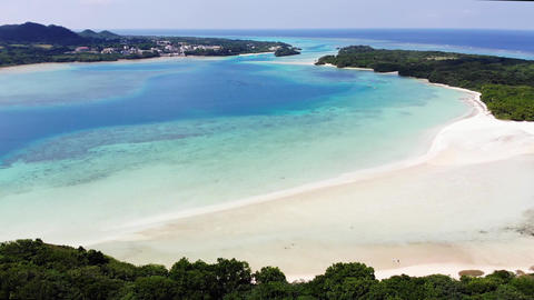 Aerial shot of a drone at Kabira Bay (back side) in Ishigaki Island, horizontal movement Live Action