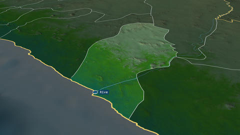 River Cess - county of Liberia. Physical Animation
