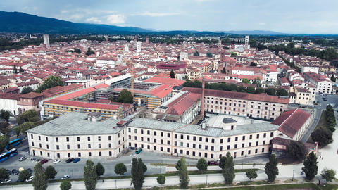 Amazing aerial view of Lucca, famous town of Tuscany Live Action