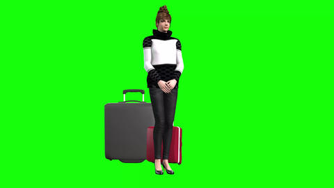 748 4k HOLIDAY AND TRAVELING AVATAR woman waiting with cases to travel and complaining about delay Animation