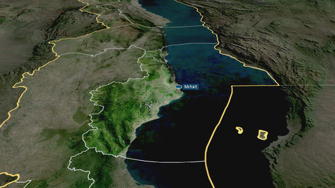 Nkhata Bay - district of Malawi. Satellite Animation