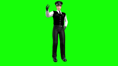 745 4k animated AVATAR policman walking saluting and explain rules on behavior Animation