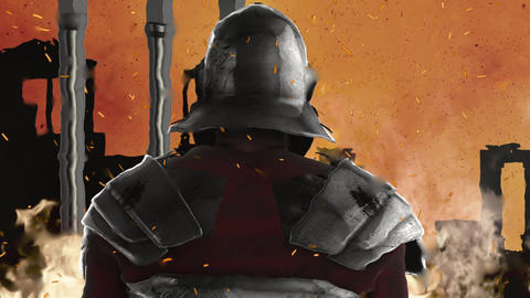 Roman Soldier looking at Rome Burning Live Action