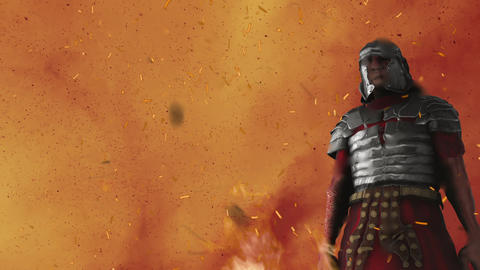 Roman Soldier Surrounded by Flames Live Action