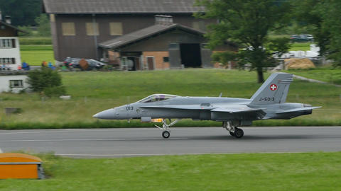 F 18 Hornet of Swiss Air Force Lands at Meiringen Airport 4K UltraHD Video Live Action