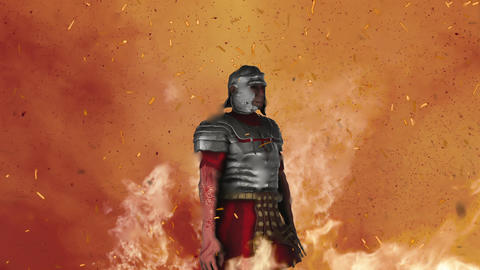 Roman Soldier Wearing Full Armor Standing in Middle of Fire Live Action