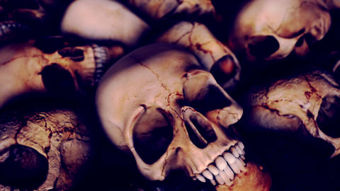 Slow Zoom Out from a Pile of Human Skulls Live Action