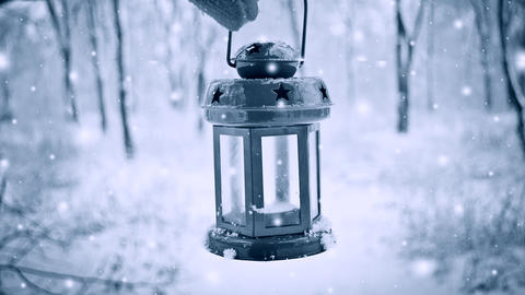 Holding in red glove red candle lantern in winter forest. Snow forest snowfall Live Action