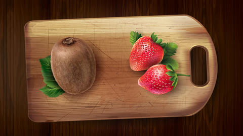 Kiwi and strawberry on the board and wooden table Animation