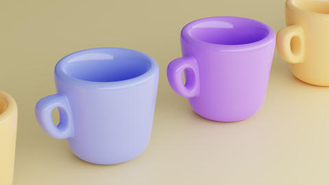 Set of bright, saturated, colorful, empty cups on yellow background. Cups in Live Action