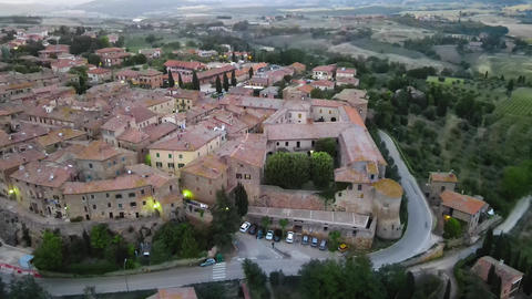 Pienza, Tuscany. Aerial view at sunset of famous medieval town Live Action
