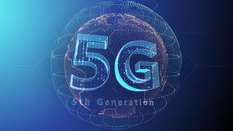 5G Digital Network technology 5th generation mobile communication concept background 5 F2 blue 4k Animation