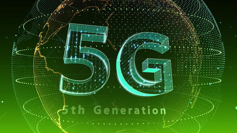 5G Digital Network technology 5th generation mobile communication concept background 5 F2 green 4k Animation