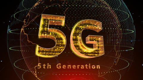 5G Digital Network technology 5th generation mobile communication concept background 5 F2 red 4k Animation