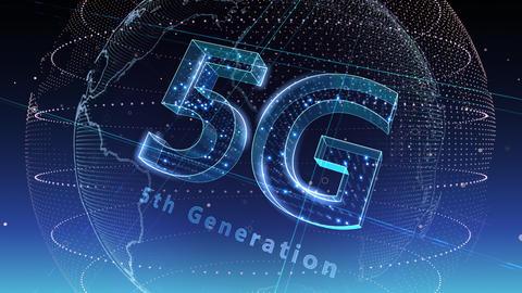 5G Digital Network technology 5th generation mobile communication concept background 5 N2 blue 4k Animation