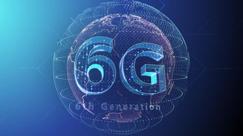6G Digital Network technology 6th generation mobile communication concept background 5 F2 blue 4k Animation
