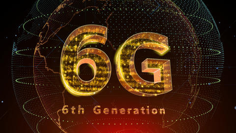 6G Digital Network technology 6th generation mobile communication concept background 5 F2 red 4k Animation