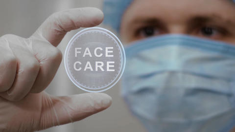 Doctor looks at hologram with Face Care Live Action