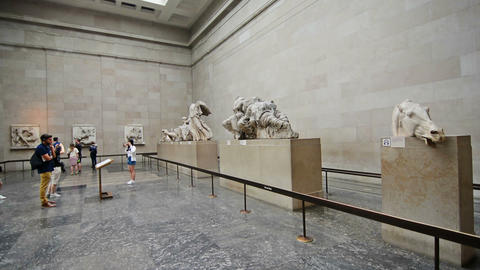 London, UK. Circa August 2016. Tourists visiting the Parthenon marbles in the Br Live Action