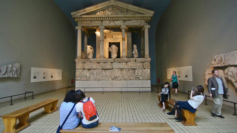 London, UK. Circa August 2016. Tourists visiting the Parthenon in the British mu Live Action