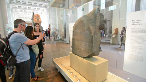 London, United Kingdom. Circa August 2016. Tourists in the British museum.Rosset Footage