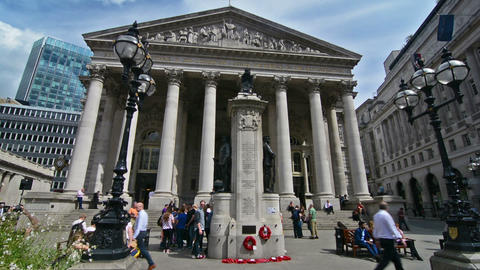 London, UK. Circa August 2016. People and the facade of the Bank of England Footage