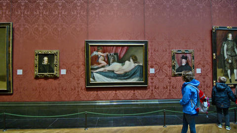London, UK. Circa August 2016. Girl watch an exposition of Velazquez in the Nati Footage