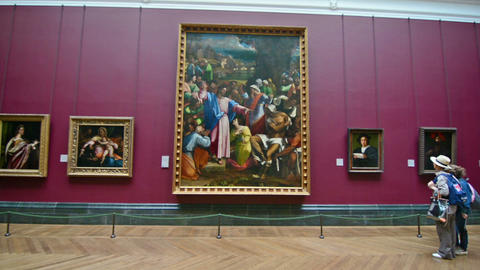 London, UK. Circa August 2016. Tourists visiting the Nation Gallery Live Action