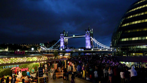 London, UK. Circa August 2016. Music festival next to Tower Bridge and City hall Live Action