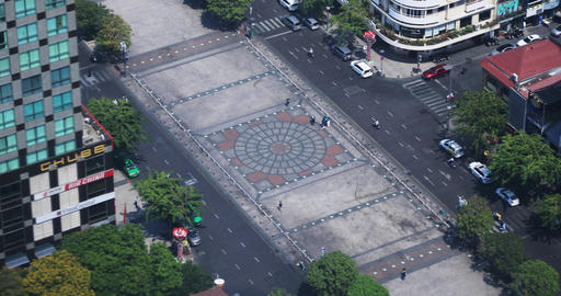 Nguen hue street in Ho Chi Minh high angle view daytime Live Action
