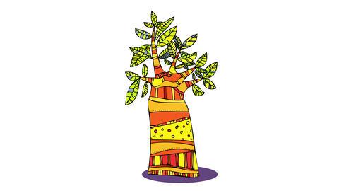 big baobab tree beautifully adorned with yellow reddish crochet fabric with amazing design on the Animation