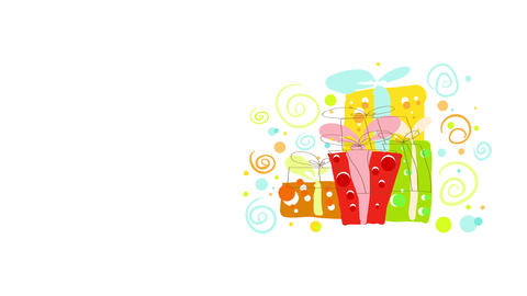 festive items isolated on invitation card with cubic presents decorated with knot ribbons and Animation