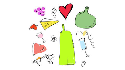 valentines day picnic getaway kit with red wine some cheese and fruit decorated with a few paper Animation