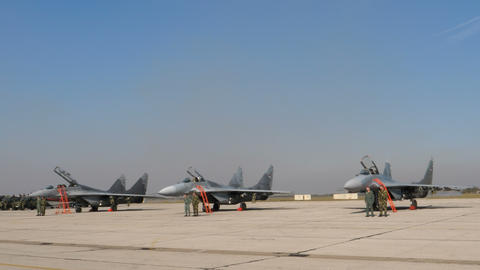 Military Fighter Jet Pilots and Specialist in front of Serbian Air Force MiG-29 Live Action