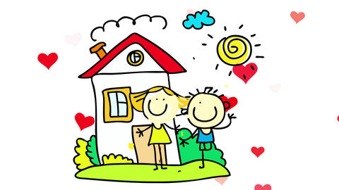 hearts with red vivid color bursting behind a loving couple welcoming people to their home with a Animation