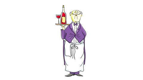 mature adult butler wearing a tuxedo at a luxury restaurant carrying red wine and a full wineglass Animation