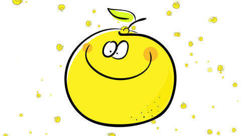 group of oranges floating like little yellow dots behind a happy orange suggesting its an industrial Animation