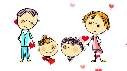 loving family of four standing together holding each others hands with red hearts emerging and Animation