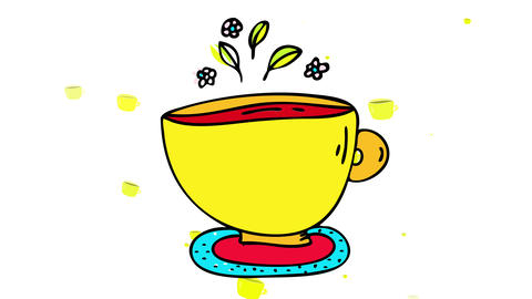 teacup with healthy herbal medicine made of fresh mint sprig and raw flowers making aromatic Animation