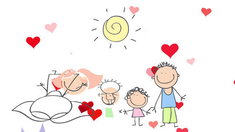 family of four with two young kids walking between their parents having the best time with red Animation