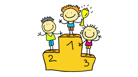 podium with three competitors standing in each step with number one holding a trophy all looking Animation