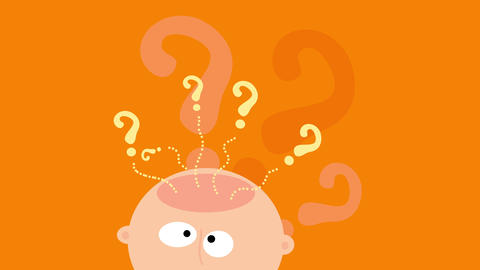 question marks coming out of a person skull suggesting he is doubtful and needs to think deeply Animation