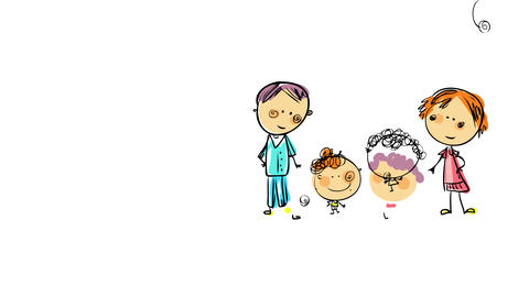 little boys drawing of his family on a lazy sunday wearing pajamas all day suggesting they played Animation