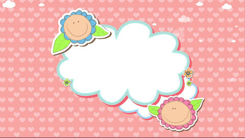 sweet childish baby clothing line logo with kids faces dressed up as flowers over group of trimmed Animation