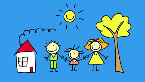 real estate publicity with happy looking family holding hands and showing love and positive Animation